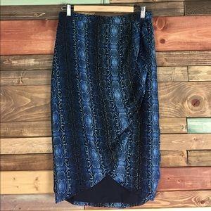 Piperlime Dresses & Skirts - Piperlime Blue Snakeskin Wrap Midi Skirt