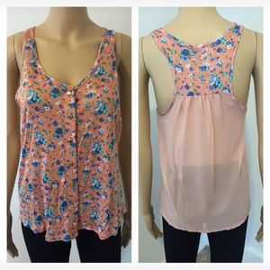 Tops - NEW small peach floral sheer back top