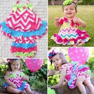 Dream BiG Other - Swing Top chevron 1st Birthday outfit Ruffle Bum