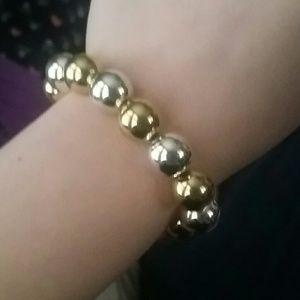 {ES} Silver and Gold Shiny Bracelet
