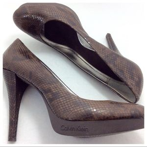 Calvin Klein Brown Snakeskin Heels