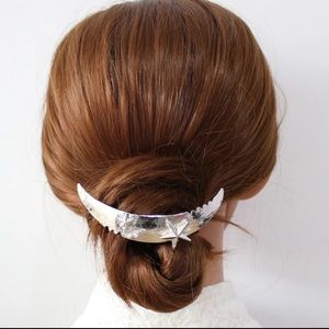Moon & Stars Hair Clip French Barrette Gold Silver