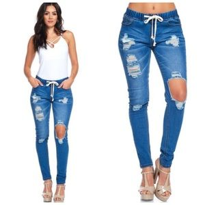 Destroyed Denim Skinny Jean Joggers S M L