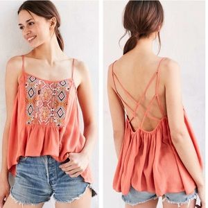 Ecote Tops - Ecote Peach Embroidered Bohemian Top