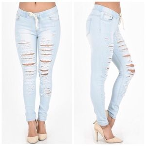 Light Wash Destroyed Skinny Jean Joggers S M L