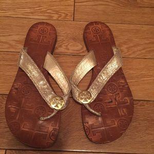 Tory Burch Shoes - Tory burch gold flat sandal