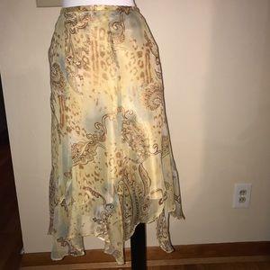 Acorn Dresses & Skirts - Acorn 100% silk skirt butterfly hem New