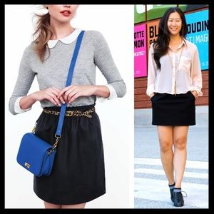 SOLD 💜 j. crew // black wool city mini bell skirt