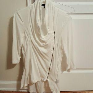 ModCloth Tops - White Assymetric Zipper 3/4 sleeve cardigan