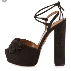 Aquazzura Shoes - Aquazzura Wild One Tassel 140mm Sandal black 7.5