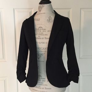 Gibson Jackets & Blazers - Gibson Black Ruched Sleeve Knit Riding Blazer