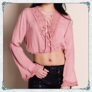 Aluna Levi Tops - ✨Beautiful Lace-up Bell Sleeve Cropped Blouse