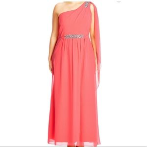 City Chic Dresses & Skirts - 20 plus size hot pink coral one shoulder gown