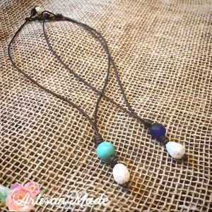 Coffee Bean's Boutique Jewelry - NEW Artisan Glass Turquoise Leather Pearl Necklace