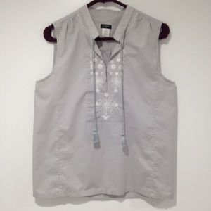 J. Crew Factory Tops - J. Crew gray embroidered sleeveless tunic blouse