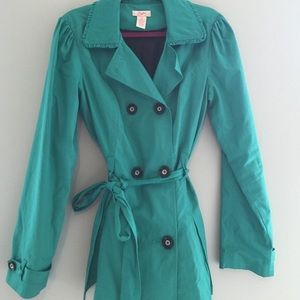 candies Jackets & Blazers - Candies Green-blue Trench Coat