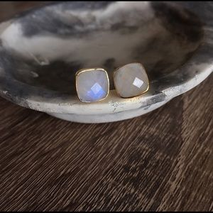 Simple Sanctuary Jewelry - 24k Gold-Plated Moonstone Earrings