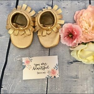 Gold Leather Toddler Moccasins NWOT