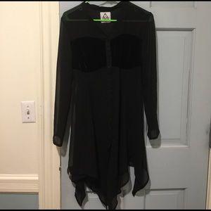 UNIF Sheer Black Velvet Dress