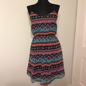 Rosebud Dresses & Skirts - Navy Tribal Print Pink Teal Yellow Strap Dress