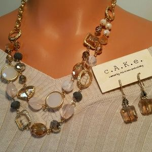 Store Brand and CAKE Jewelry - Pink Blush Stone Statement necklace & earrings set
