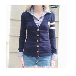 Forever 21 Sweaters - Dark blue sweater button down long sleeve