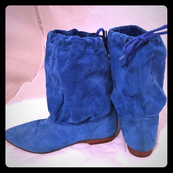 Blue Suede Vintage 8s Slouch Boots