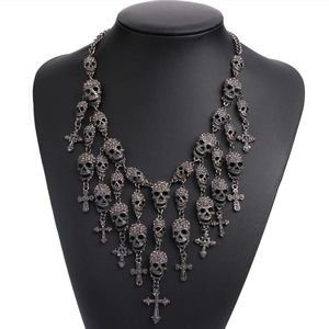 Jewelry - Crystal Metal Skull Cross Maxi Statement Necklace
