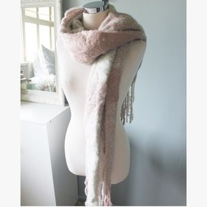 Cozy Pink & Gray Flannel Blanket Scarf