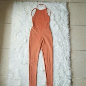 Pants - Pink Backless Jumpsuit