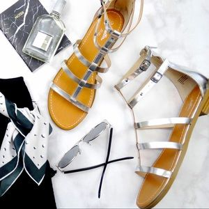 Seychelles Shoes - Silver Leather Gladiator Sandals