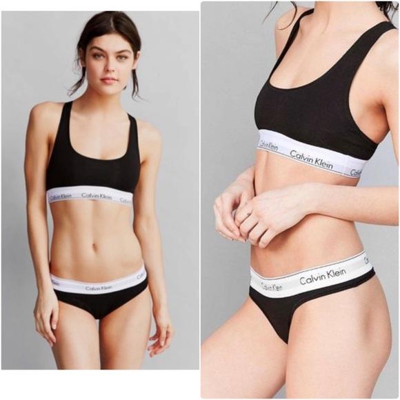 45c20e05c6813 cK Modern Cotton Bralette Bra Thong Panty Set