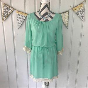 Jodi Kristopher Dresses & Skirts - Mint Chiffon and Cream Lace Dress