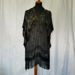 Staring at Stars Accessories - URBAN OUTFITTERS BLACK VELVET BURNOUT WRAP KIMONO