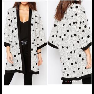 Twilight Gypsy Collective Accessories - Black & White Polka Dot Chiffon Kimono Coverup