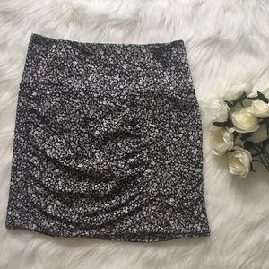 Gray Floral Ditsy Print Mini Skirt