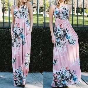 Pink Peplum Boutique Dresses & Skirts - 🆕 Floral blush pink racer back maxi dress