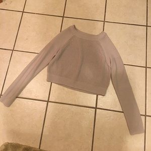 Grey Knit Cropped Sweater