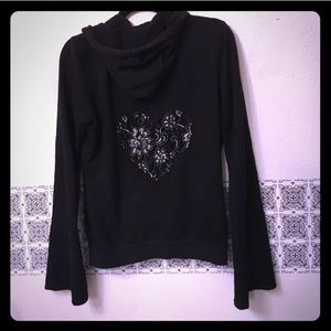 TWISTED HEART Tops - Twisted heart hoodie black mesh lace back