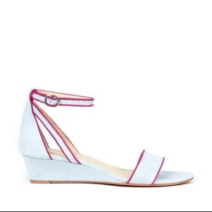 Sole Society Shoes - Light blue suede wedge sandals
