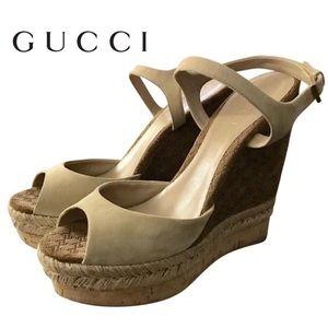 Gucci Cork Espadrille Wedge Platform Ankle Sandals