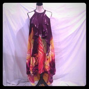 Jennifer Lopez Dresses & Skirts - Floral Hi/Low Sleeveless Loose Fitting Dress EUC