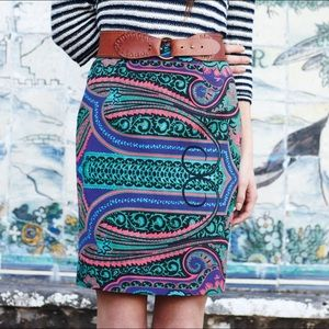Anthropologie Paisley Pencil Skirt Tracy Reese 12