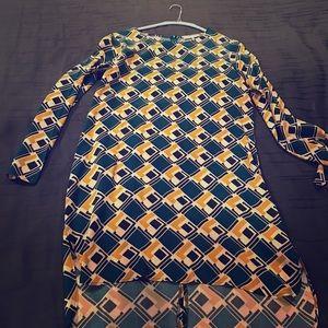 WAYF Turquoise & Gold Long Sleeve Shirt Dress