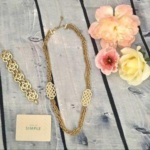 Lia Sophia Gold Celtic Knot Necklace & Bracelet