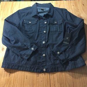 Baccini Jackets & Blazers - Baccini polka dot Denim Jean jacket 22/24W