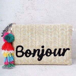 """Melie Bianco Handbags - Melie Bianco Straw Clutch Embroidery """"Bonjour"""""""