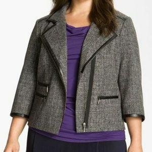 Sejour Jackets & Blazers - Sejour leather trim grey plus size jacket EUC