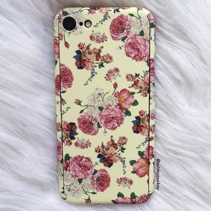 B-Long Boutique  Accessories - 360 protective pink floral iPhone 7 phone case
