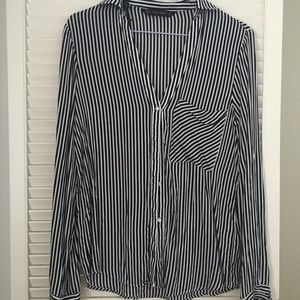 Zara Black and White Striped Button Up Top